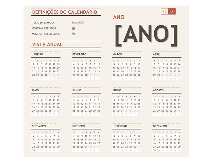 Calendário para todos os anos com feriados