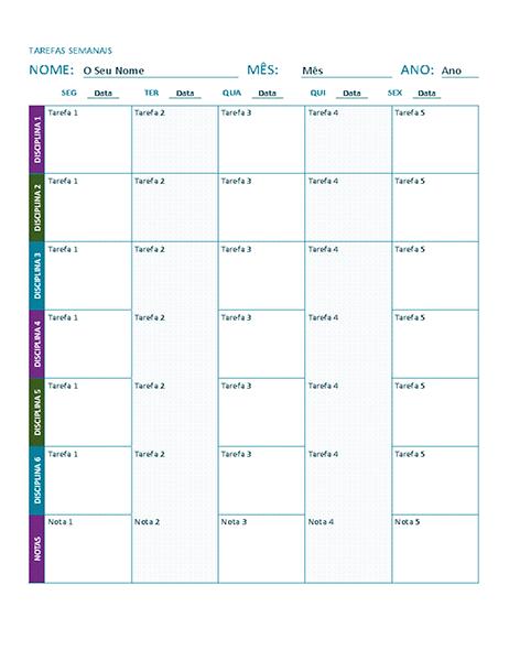 Folha de tarefas semanais (cor)