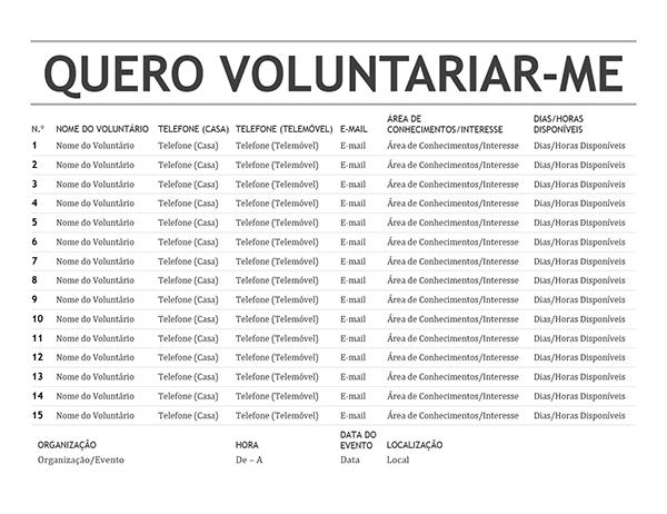 Lista de voluntários