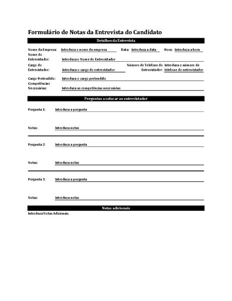 Formulário de notas da entrevista do candidato