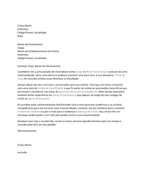 Carta ao professor a pedir uma carta de recomendação para trabalho