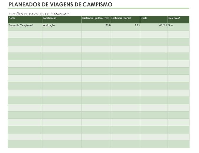 Planejador de viagens de acampamento