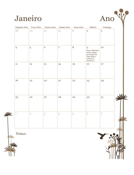 Calendário de 12 meses de 2018 (segunda-feira a domingo)