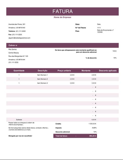 Nota fiscal de vendas