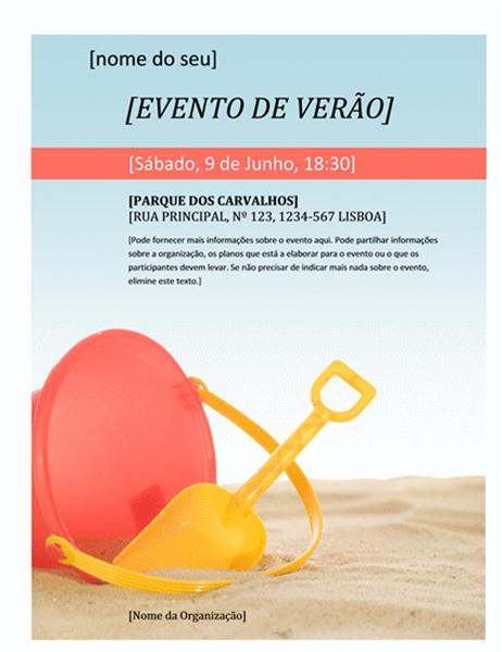 Panfleto de um evento de verão
