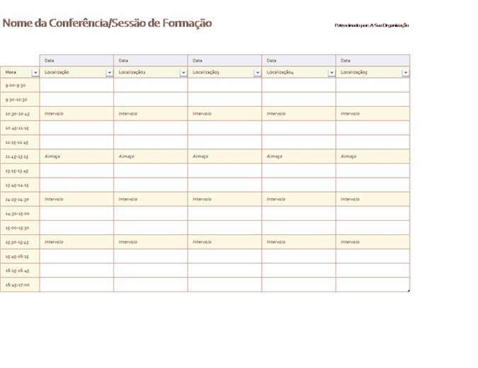 Agenda de eventos de cinco dias