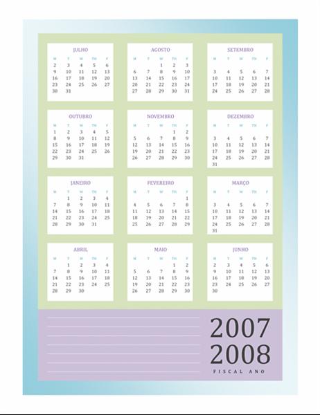 Calendário do ano fiscal 2007-2008 (Seg-Sex)