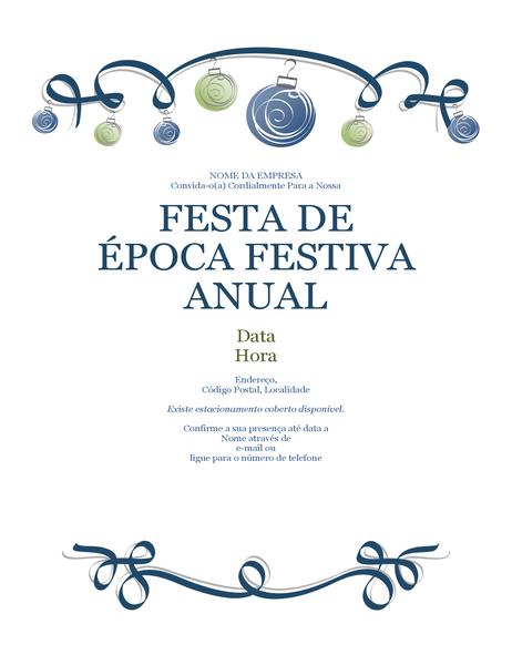 Panfleto para festa de Natal com ornamentos e fita decorativa azul (design formal)
