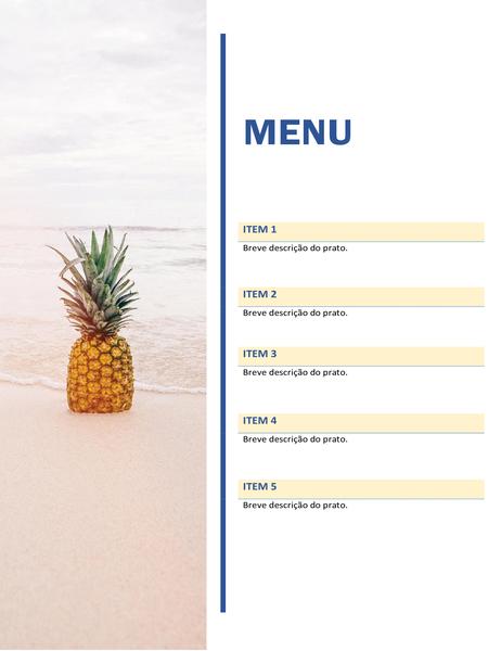 Cardápio de festa (design de praia e sol)