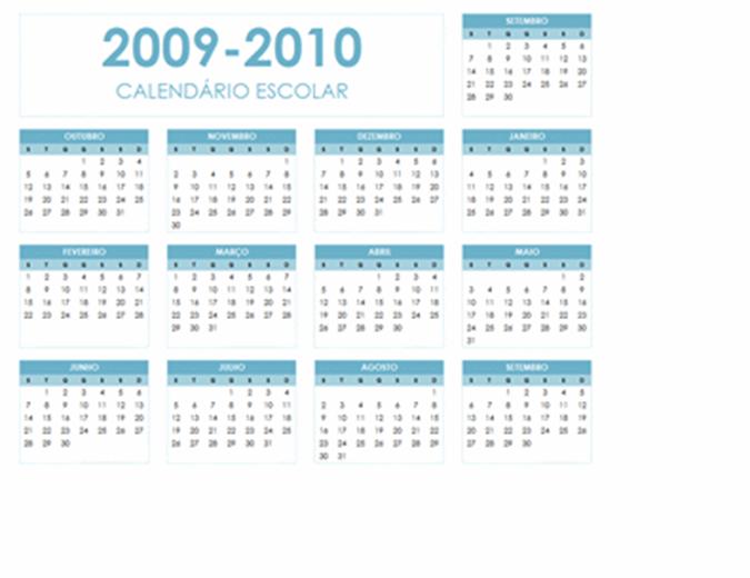 Calendário académico 2009-2010 (1 página, horizontal, Seg. - Dom.)