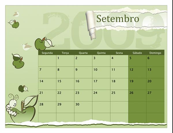 Calendário académico 2009-2010 (Ago. - Ago., Seg. - Dom.)