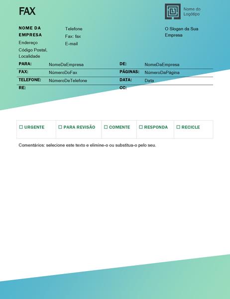 Folha de rosto de fax (design Gradação Verde)