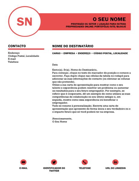 Carta de apresentação sofisticada, concebida pela MOO