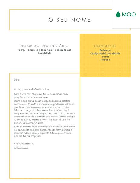 Carta de apresentação elegante e simples, concebida pela MOO