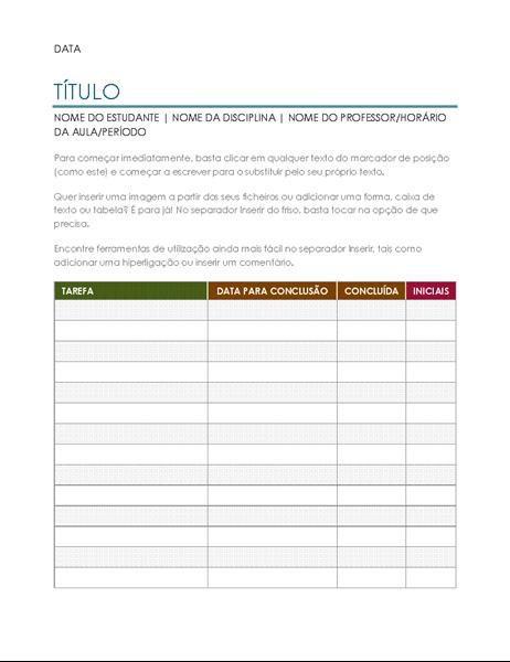 Lista de tarefas de projeto