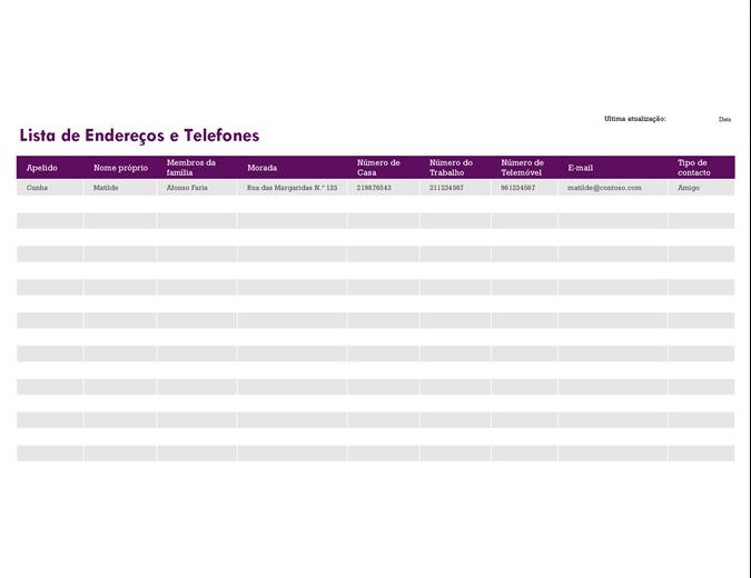 Lista de endereços e telefones
