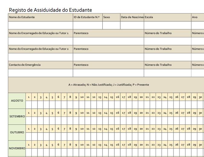 Registro de frequência do aluno (simples)
