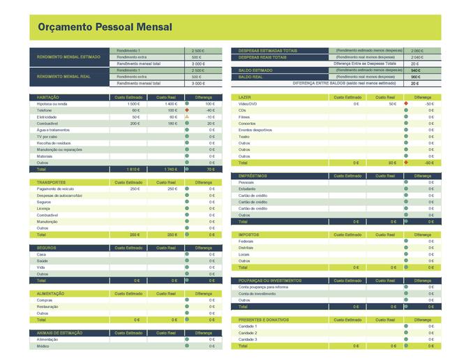 Planilha de orçamento pessoal mensal