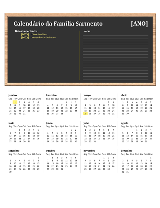 Calendário familiar (qualquer ano, dom-sáb)