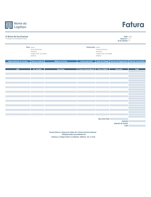 Fatura de venda (design Azul Simples)
