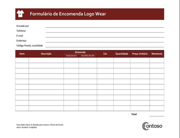Formulário de pedido para Vestimenta com Logotipo