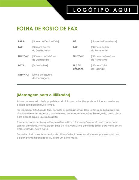 Folha de rosto de fax com logotipo em negrito