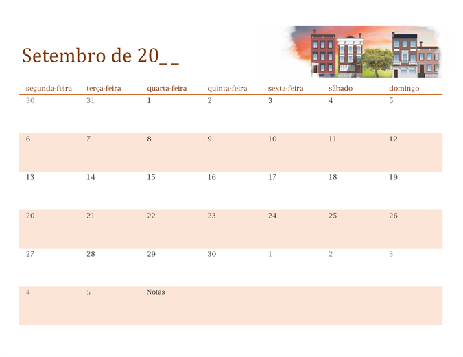 Calendário ilustrado com as estações para qualquer ano