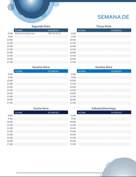 Calendário de compromissos esferas azuis