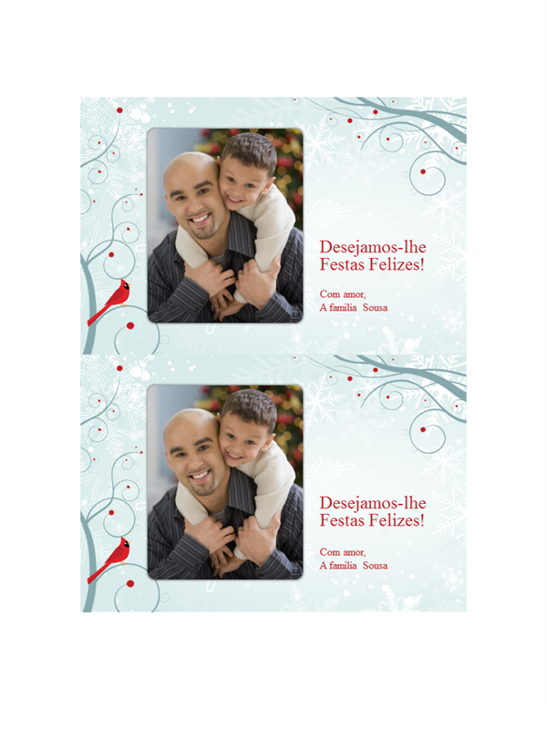 Cartões de fotos de Natal com flocos de neve (duas por página)
