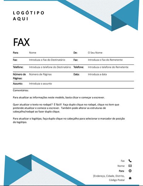 Folha de rosto de fax com listras