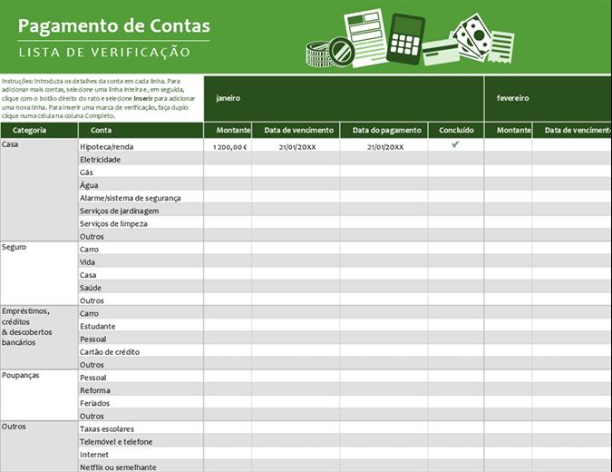 Lista de verificação de pagamentos de contas
