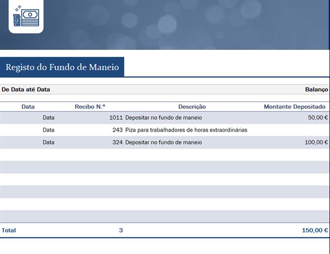 Registro de fundo fixo de pequena empresa