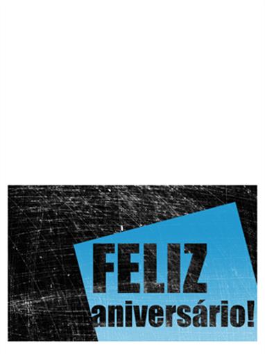 Cartão de aniversário, fundo riscado (preto, azul, meia dobra)