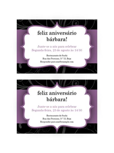 Convite para festa (Design de faixa lilás)
