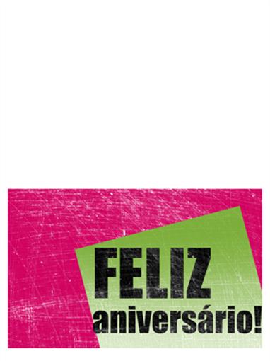 Cartão de aniversário, fundo riscado (rosa, verde, meia dobra)