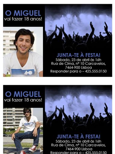 Convites de festa (azul no preto)