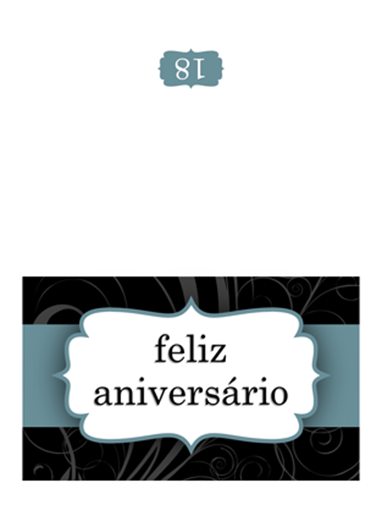 Cartão de aniversário (Design de Fita Azul, dobrado ao meio)