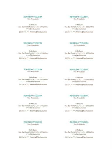 Cartões de visita, layout horizontal, sem logotipo (10 por página)
