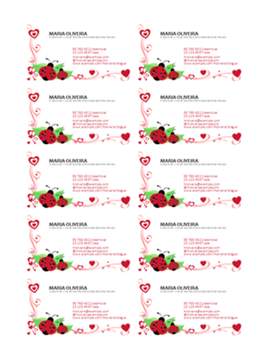 Cartões de visita (joaninhas e corações, alinhados à esquerda, 10 por página)