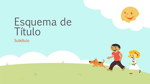 Apresentação educativa com crianças brincando (ilustração de desenho animado, tela ampla)
