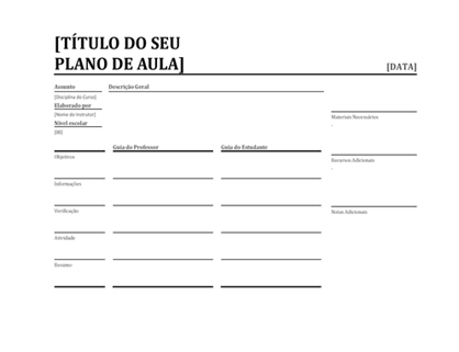 Plano de aulas diário