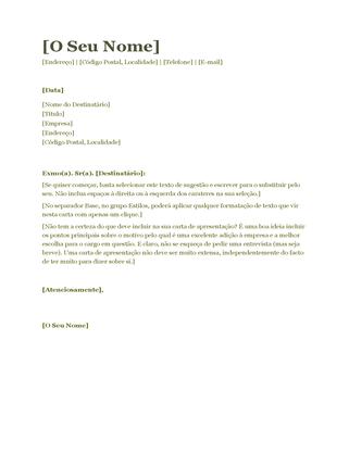 Carta de apresentação de currículo (verde)