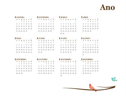 Calendário anual de 2018 (segunda-feira a domingo)
