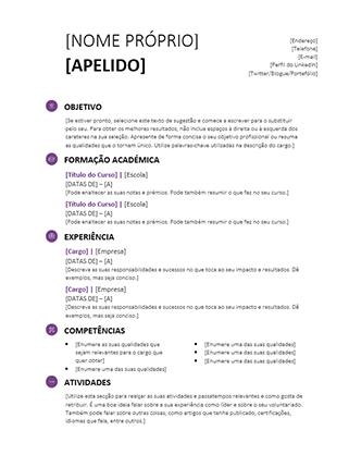 Currículo escolar (Design moderno)