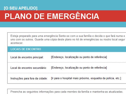Plano para emergências familiares