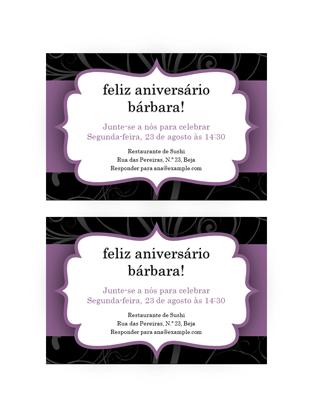Convite para festa (Design de fita lilás)