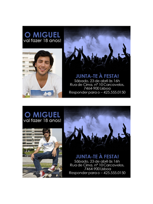 Convites para festas (azul no preto)