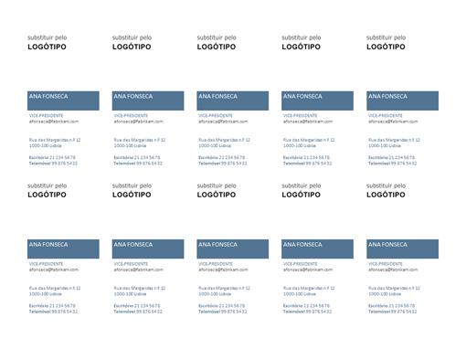 Cartões de visita, esquema vertical com logótipo (10 por página)