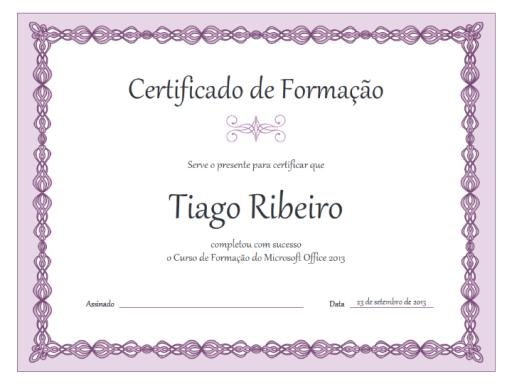 Certificado de formação (estrutura de cadeia roxa)