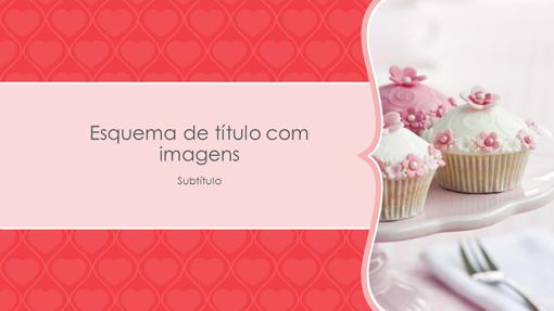 Álbum de fotografias de corações rosa (ecrã panorâmico)